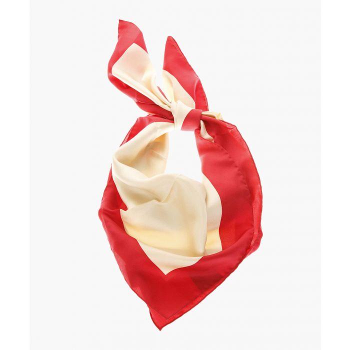 Image for Multi-coloured pure silk logo print scarf