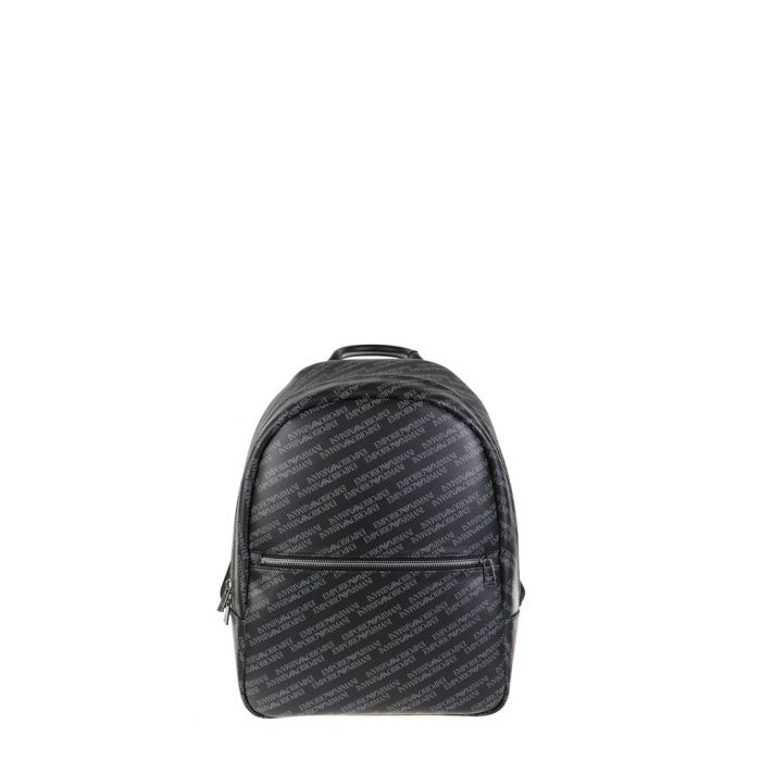 Image for Black printed zip pocket backpack