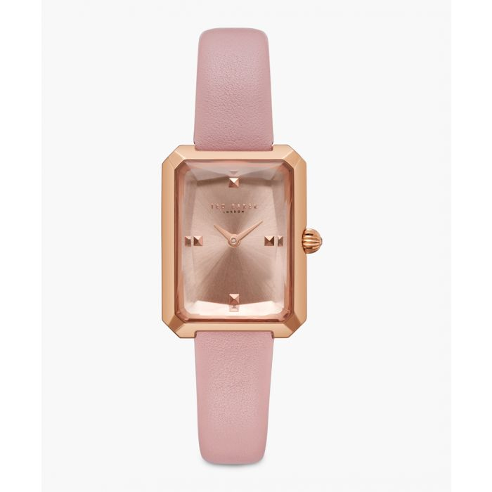 Image for Cara pink leather and stainless steel watch