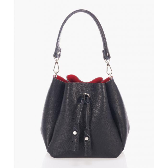 Image for Black leather bucket bag