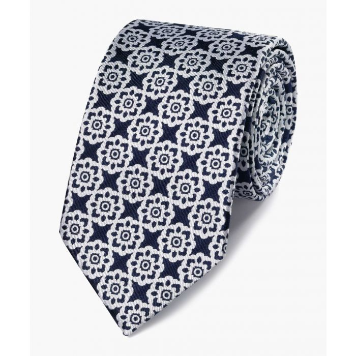 Image for Navy and white floral classic tie