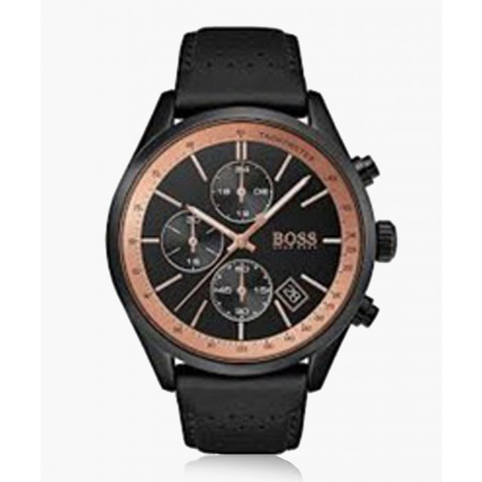 Image for Rose gold-tone and black leather watch