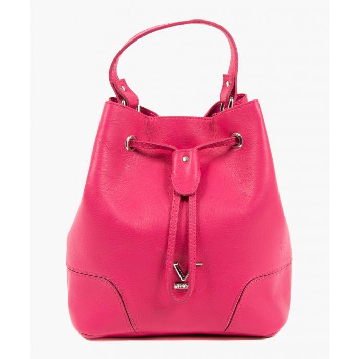 Image for Fuchsia leather bucket bag