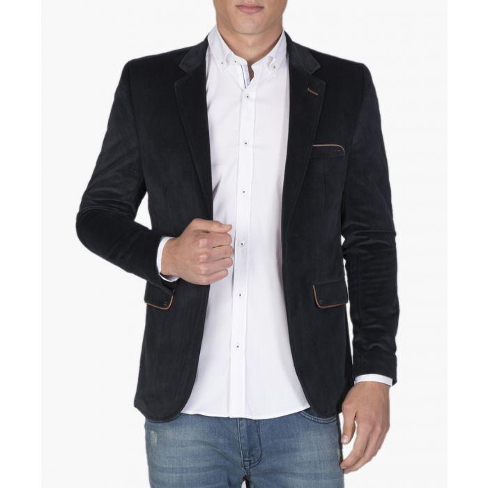 Image for Navy blue cotton blend blazer