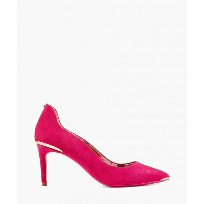 Image for Pink suede metallic detail heels