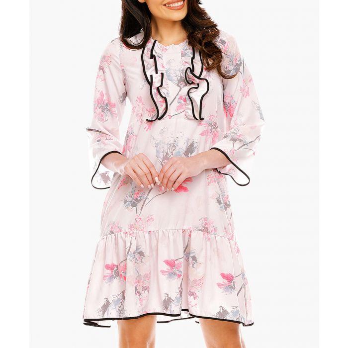 Image for Pink & grey drop waist ruffled dress