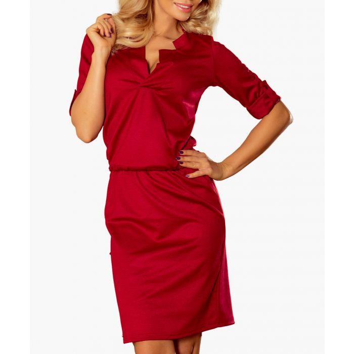 Image for Burgundy open collar knee-length dress