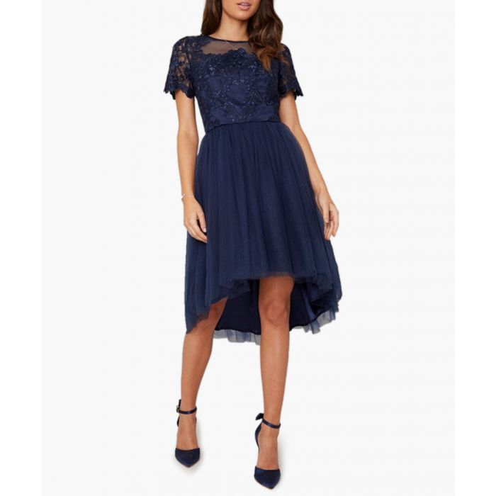 Image for Anya navy feathered short sleeve dress