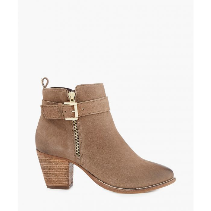 Image for Taupe suede heeled ankle boots
