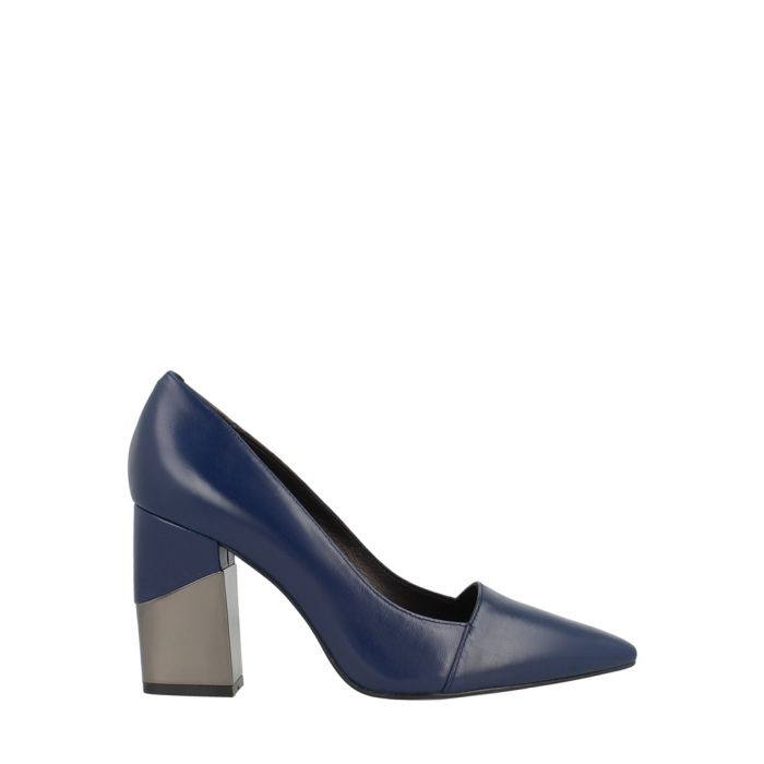 Image for Navy leather pointed block heels