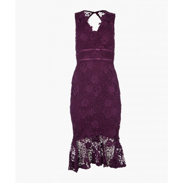 Image for Purple lace midi dress