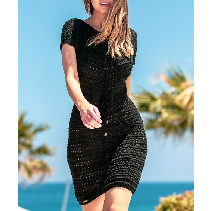 Image for Black knitted wool and cotton blend dress