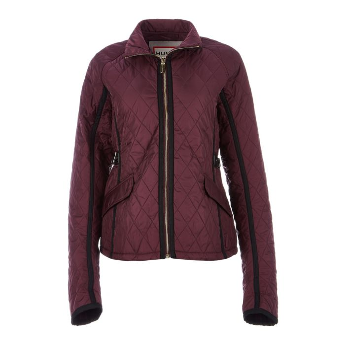 Image for Plum nylon quilted trench jacket