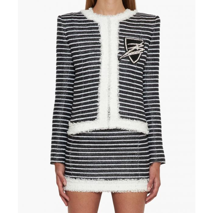 Image for Black and white short bouclé jacket