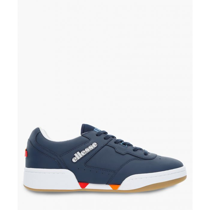 Image for Navy leather logo sneakers