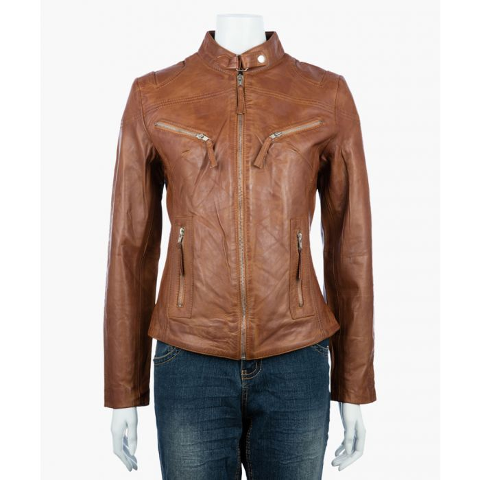Image for Womens classic tan biker jacket