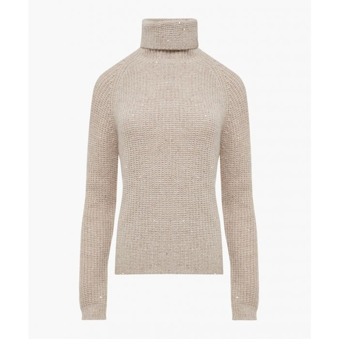 Image for Beige cashmere and wool blend jumper