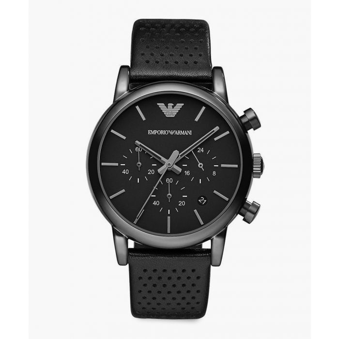 Image for Black perforated leather strap watch