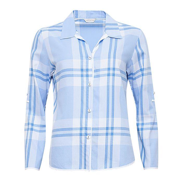 Image for Amelia blue cotton checked pyjama top