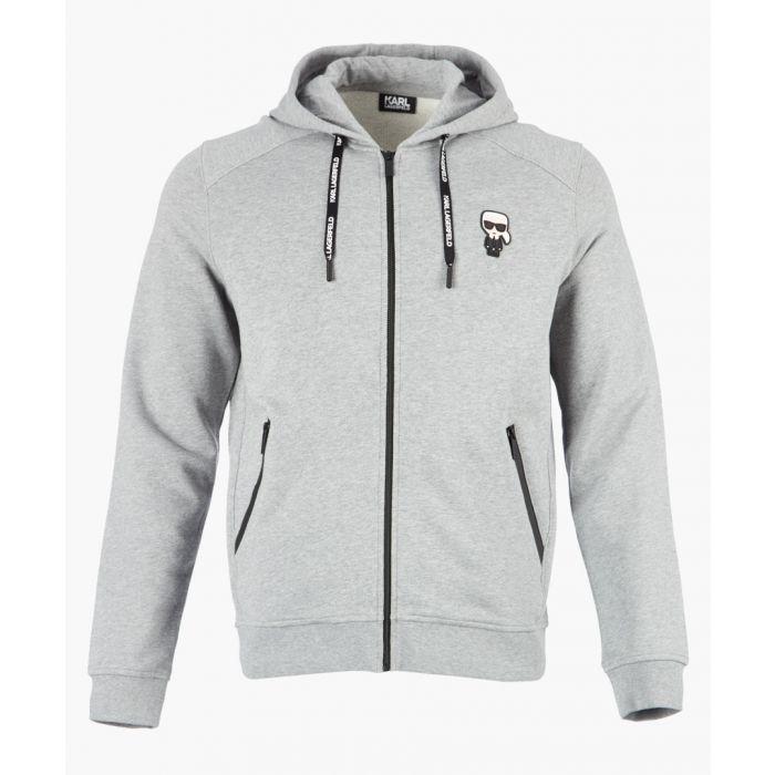 Image for Grey motif logo zip-up hoodie