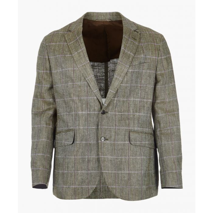 Image for Herringbone silk blend checked blazer