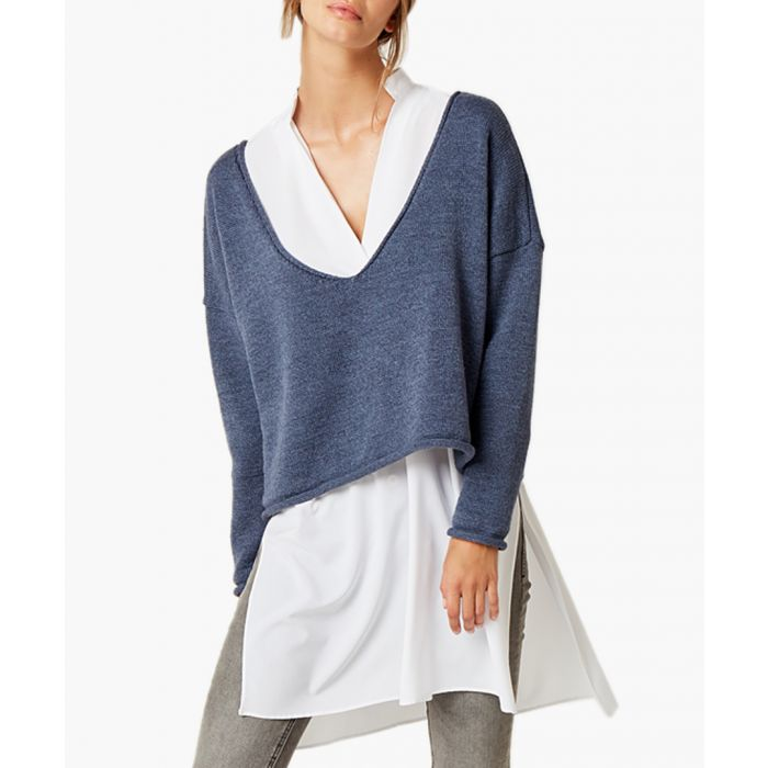 Image for Navy blue loose cut jumper