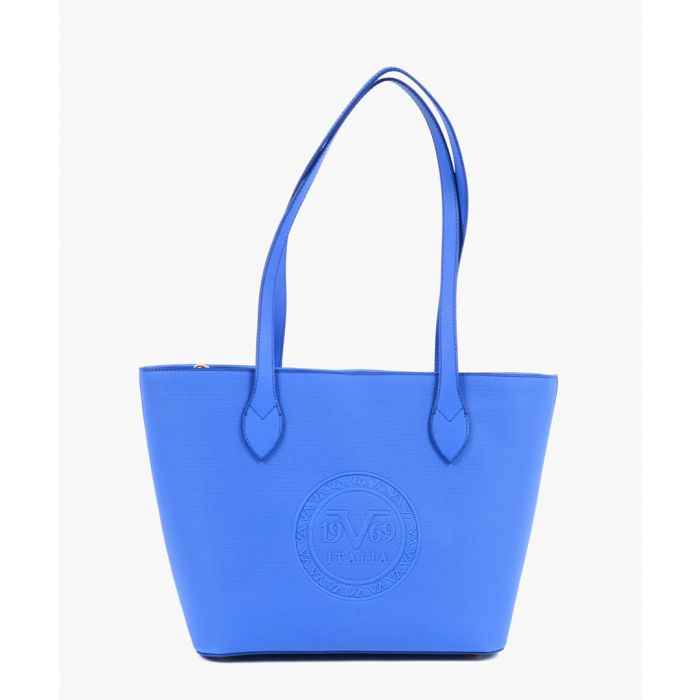 Image for Blue embossed faux leather shopper