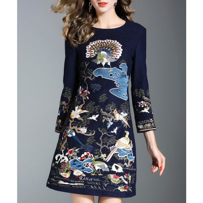 Image for Navy wool & cotton blend printed dress