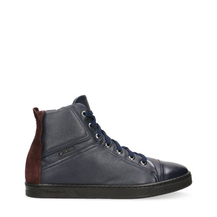 Image for Navy & maroon leather high sneakers