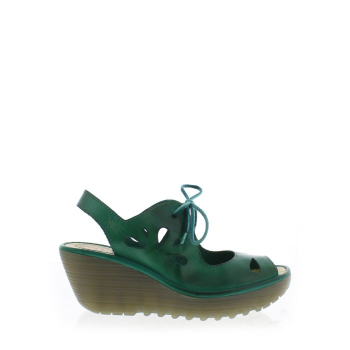 Image for Verdigris leather tie-lace wedges