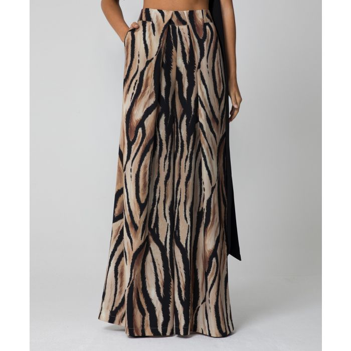 Image for Serena animal print wide-leg trousers