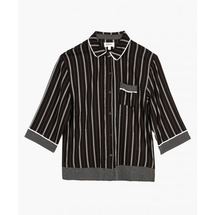 Image for Black and white striped pyjama top