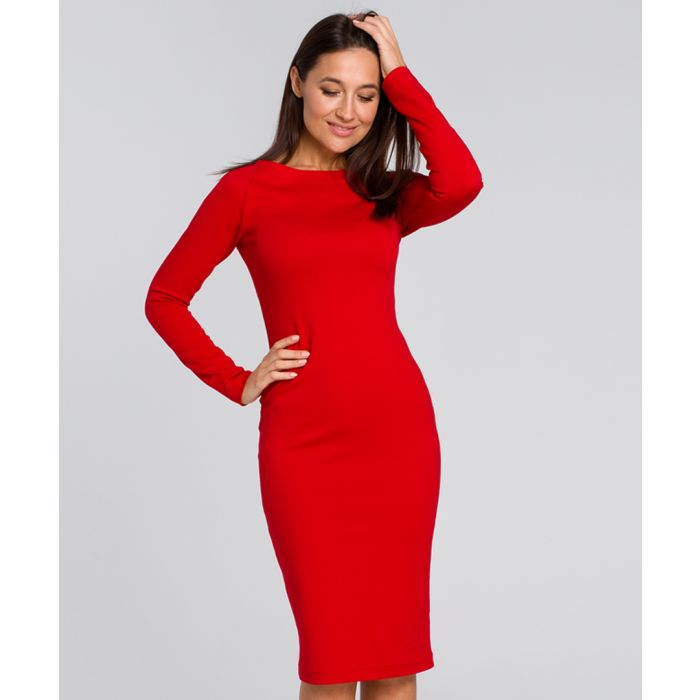 Image for Red midi bodycon dress