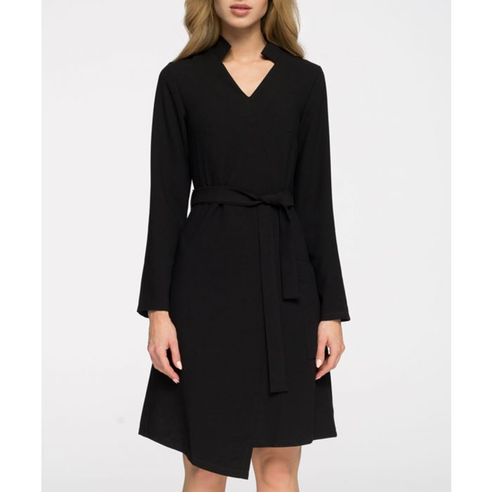 Image for Black waist-tie wrap dress