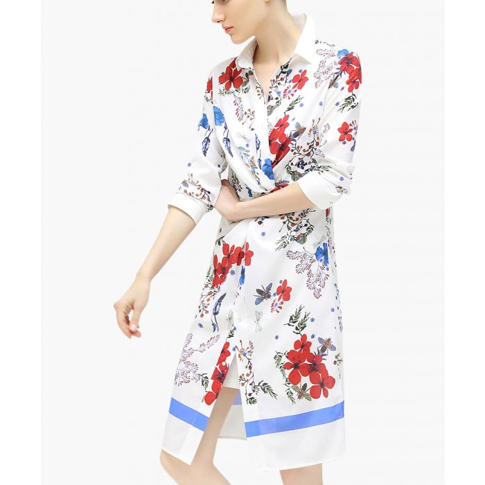 Image for White floral twisted shirt dress