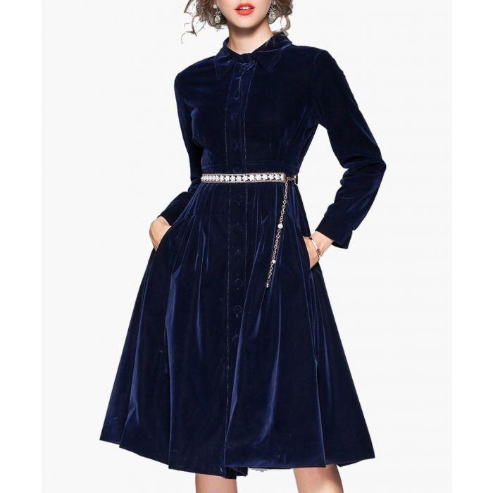 Image for Blue velvet long sleeve midi dress