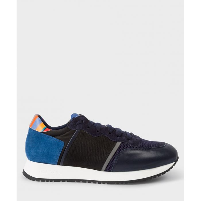Image for Navy leather contrast sneakers