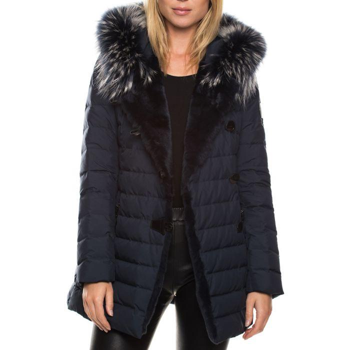 Image for Aliza navy goose down & fur jacket