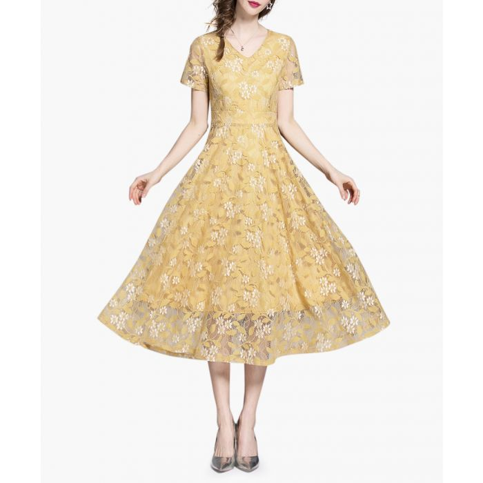 Image for Yellow V-neck lace overlay midi dress