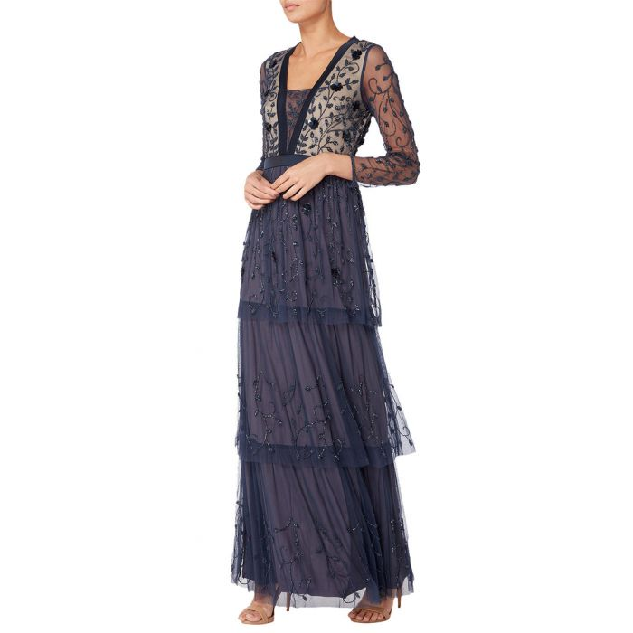Image for Navy embellished tiered maxi dress
