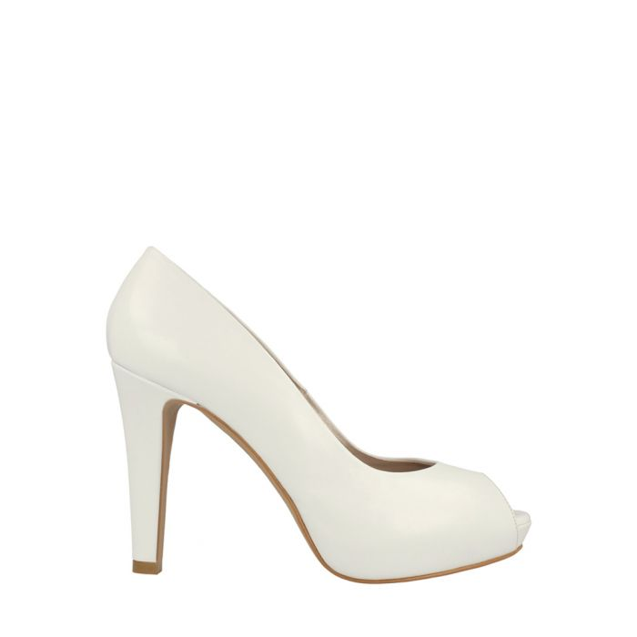 Image for White leather open-toe heels