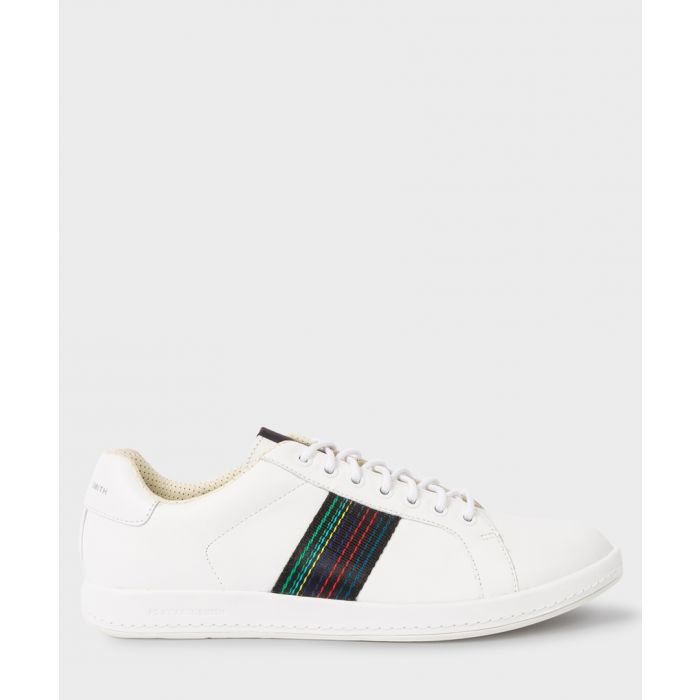 Image for White leather contrast panel sneakers
