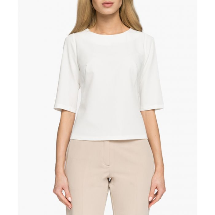 Image for Ecru cropped sleeve top