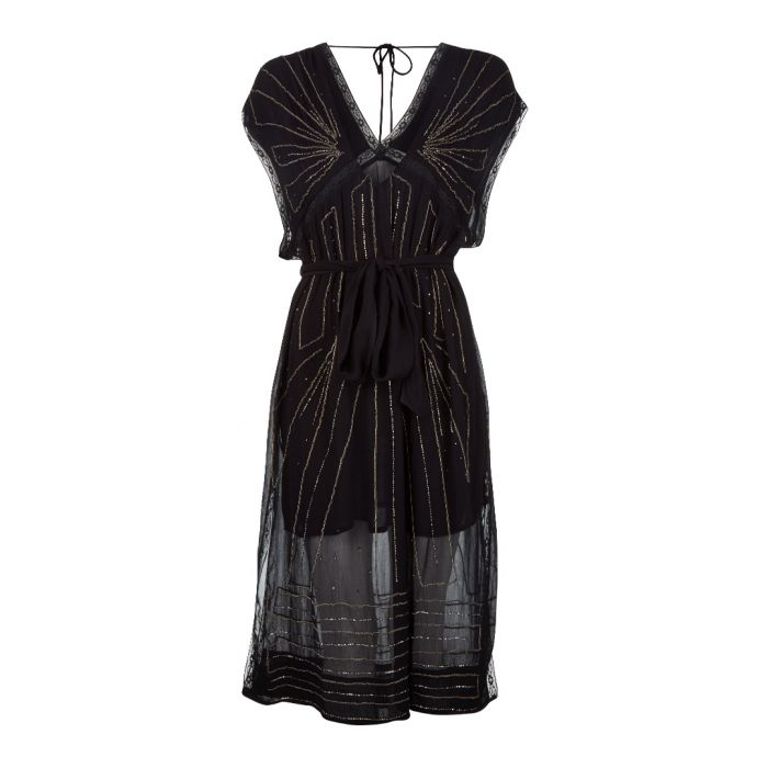 Image for Daisy black embellished midi dress