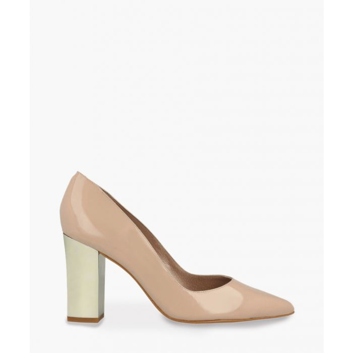 Image for Nude patent pointy block heels