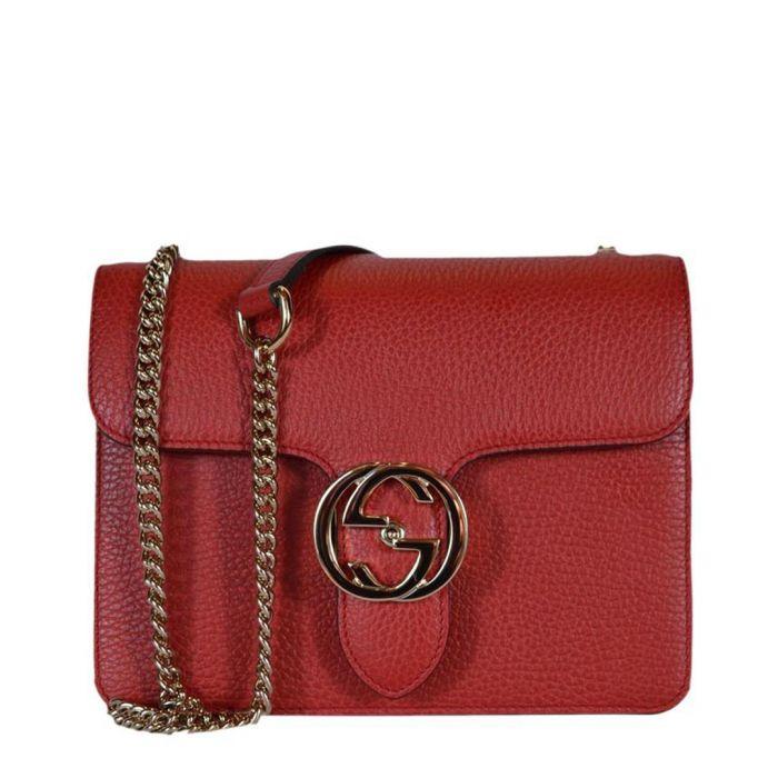 Image for Red interlocking GG shoulder bag