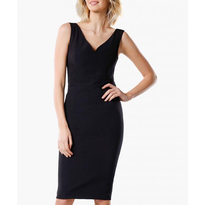 Image for Black v-neck bodycon dress
