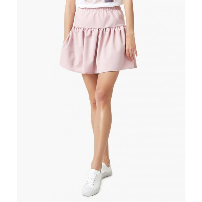 Image for Powder pink fit & flare mini skirt