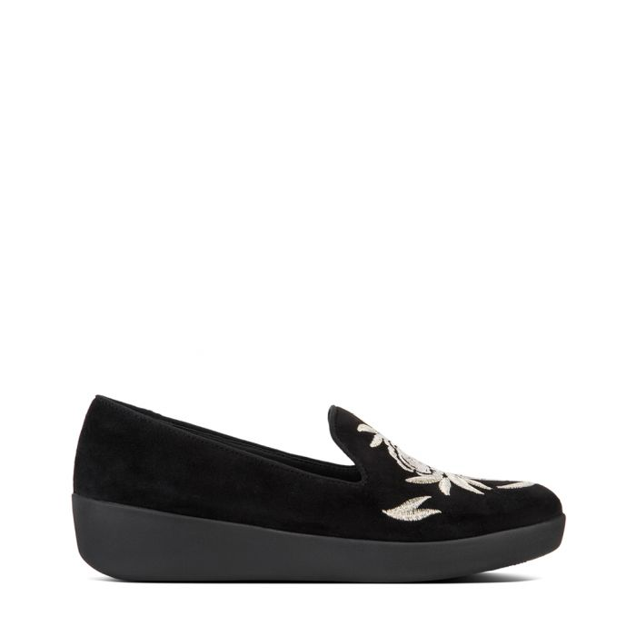 Image for Audrey black embroidered slip-ons