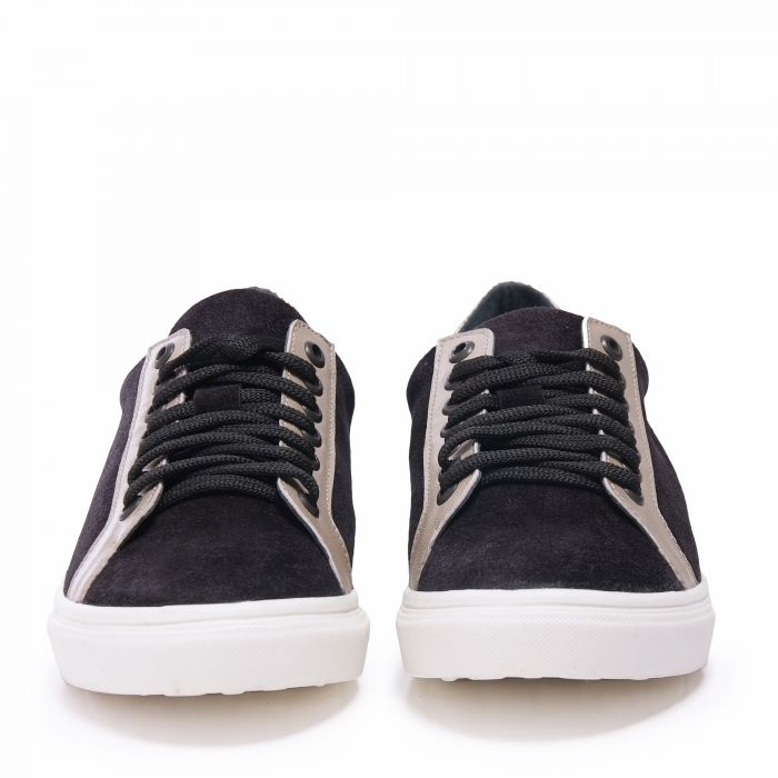 Image for Womens black and rose gold leather lace up sneakers